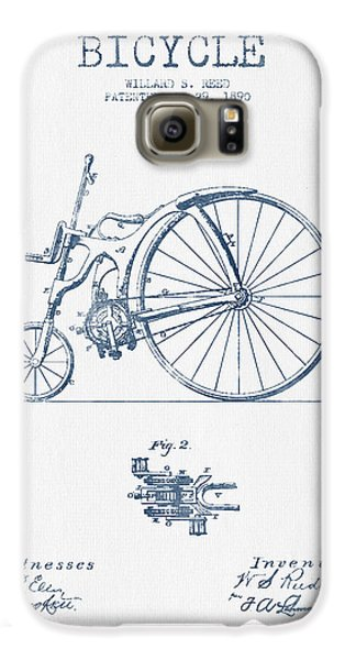 Reed Bicycle Patent Drawing From 1890 - Blue Ink Galaxy S6 Case by Aged Pixel