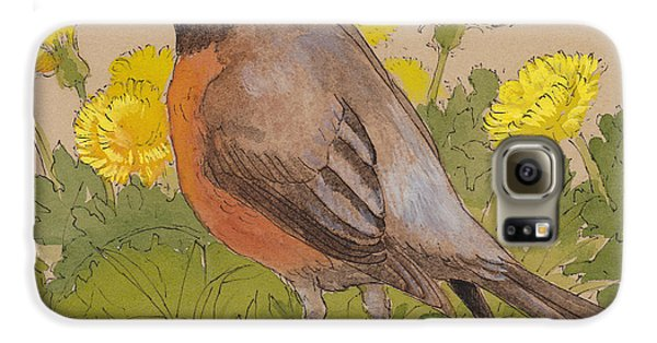 Robin In The Dandelions Galaxy S6 Case by Tracie Thompson