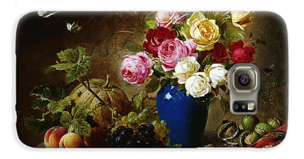 Roses In A Vase Peaches Nuts And A Melon On A Marbled Ledge Galaxy S6 Case by Olaf August Hermansen