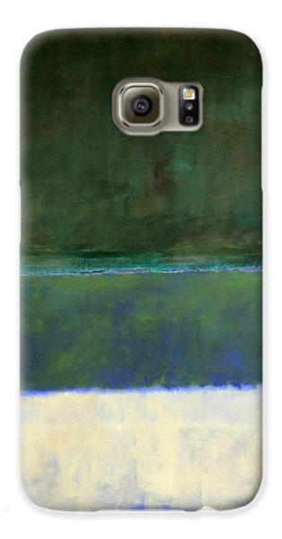 Rothko's No. 14 -- White And Greens In Blue Galaxy S6 Case by Cora Wandel