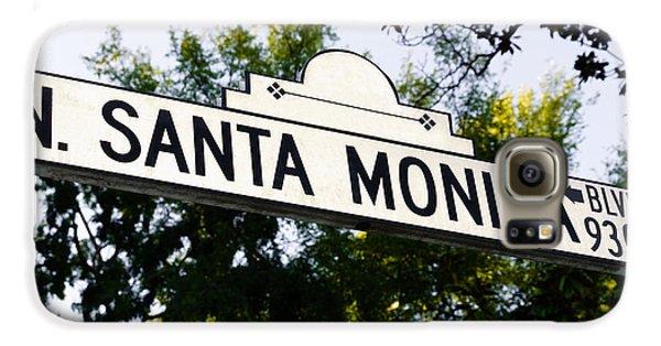 Santa Monica Blvd Street Sign In Beverly Hills Galaxy S6 Case by Paul Velgos