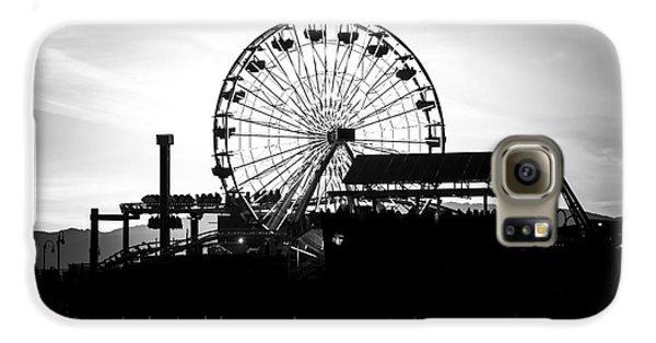 Santa Monica Ferris Wheel Black And White Photo Galaxy S6 Case by Paul Velgos