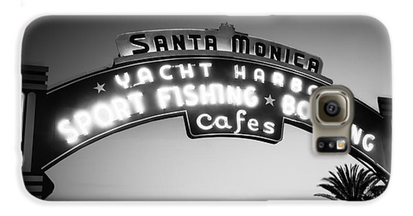 Santa Monica Pier Sign In Black And White Galaxy S6 Case by Paul Velgos