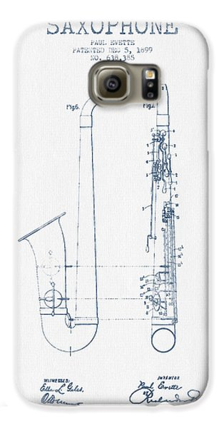 Saxophone Patent Drawing From 1899 - Blue Ink Galaxy S6 Case by Aged Pixel