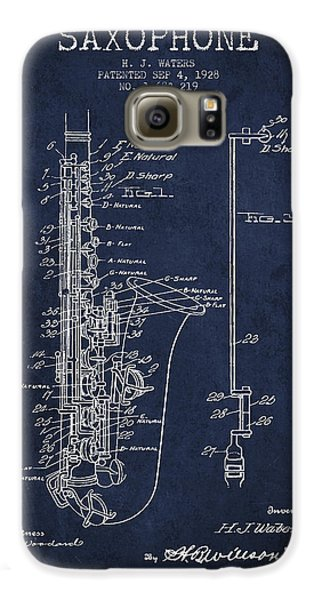 Saxophone Patent Drawing From 1928 Galaxy S6 Case by Aged Pixel