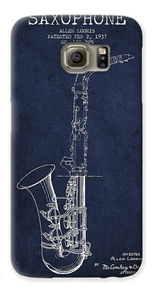 Saxophone Patent Drawing From 1937 - Blue Galaxy S6 Case by Aged Pixel