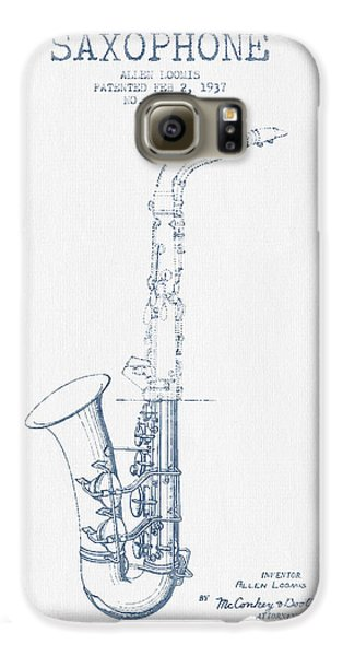 Saxophone Patent Drawing From 1937 - Blue Ink Galaxy S6 Case by Aged Pixel