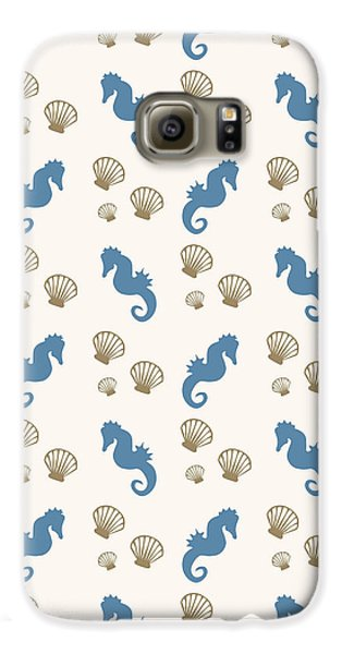 Seahorse And Shells Pattern Galaxy S6 Case by Christina Rollo