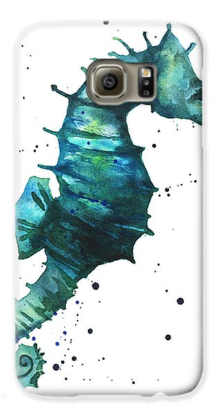 Seahorse In Teal Galaxy S6 Case by Alison Fennell