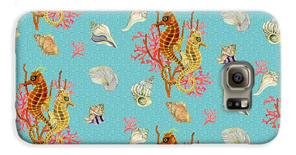 Seahorses Coral And Shells Galaxy S6 Case by Kimberly McSparran