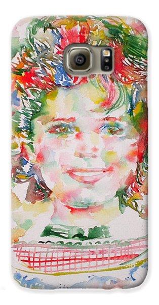 Shirley Temple - Watercolor Portrait.1 Galaxy S6 Case by Fabrizio Cassetta