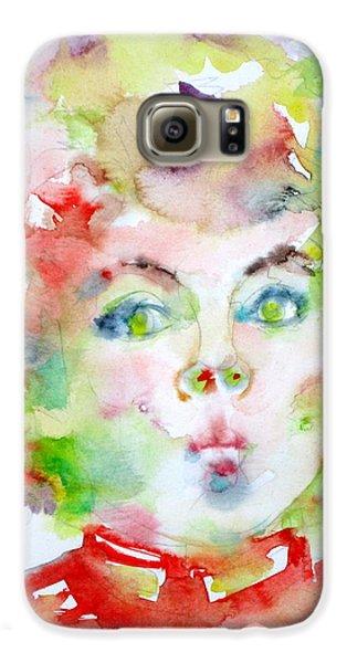 Shirley Temple - Watercolor Portrait.2 Galaxy S6 Case by Fabrizio Cassetta