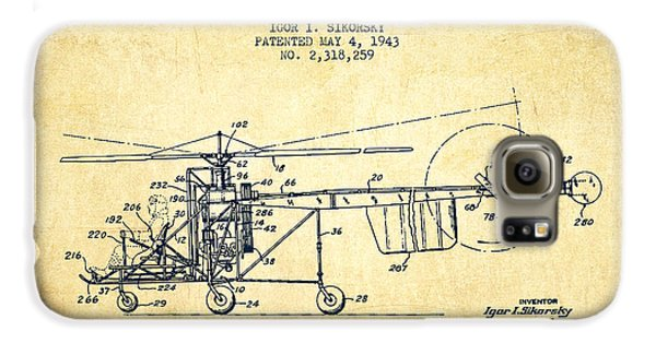 Sikorsky Helicopter Patent Drawing From 1943-vintgae Galaxy S6 Case by Aged Pixel