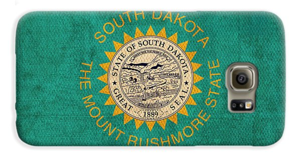 South Dakota State Flag Art On Worn Canvas Galaxy S6 Case by Design Turnpike
