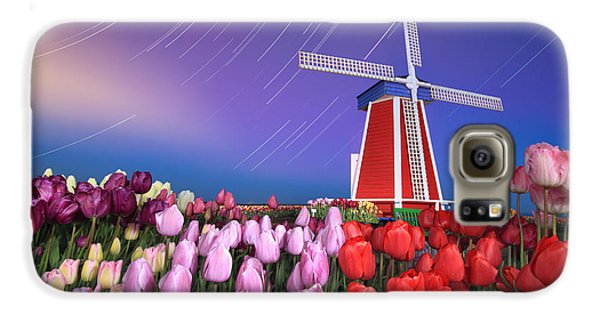 Star Trails Windmill And Tulips Galaxy Case by William Lee