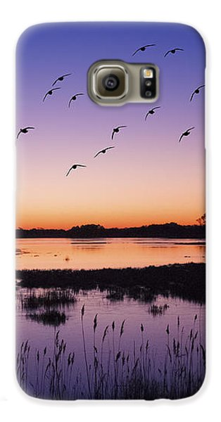 Sunrise At Assateague - Wetlands - Silhouette  Galaxy S6 Case by Shara Lee