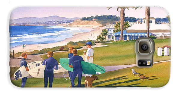 Surfers Gathering At Del Mar Beach Galaxy S6 Case by Mary Helmreich