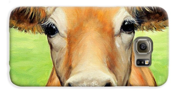 Sweet Jersey Cow In Green Grass Galaxy S6 Case by Dottie Dracos