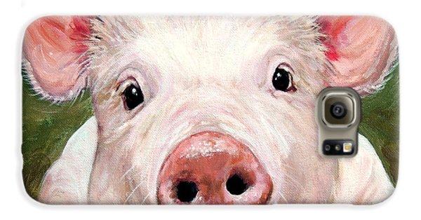 Sweet Little Piglet On Green Galaxy S6 Case by Dottie Dracos