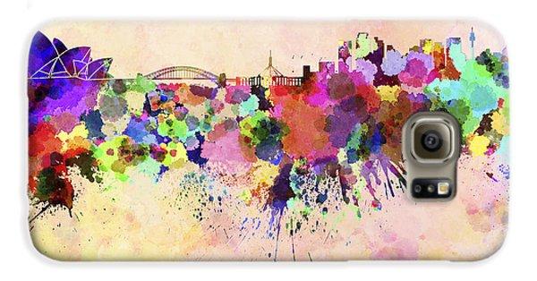 Sydney Skyline In Watercolor Background Galaxy S6 Case by Pablo Romero