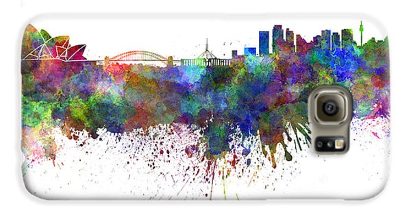 Sydney Skyline In Watercolor On White Background Galaxy S6 Case by Pablo Romero