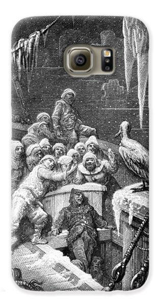 The Albatross Being Fed By The Sailors On The The Ship Marooned In The Frozen Seas Of Antartica Galaxy S6 Case by Gustave Dore