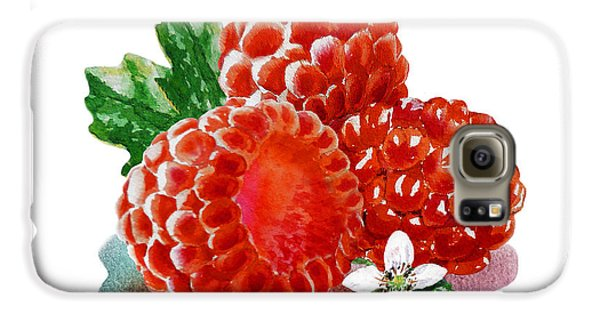 Three Happy Raspberries Galaxy S6 Case by Irina Sztukowski