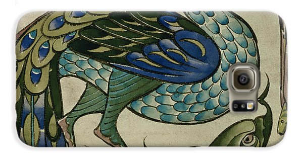 Tile Design Of Heron And Fish Galaxy S6 Case by Walter Crane