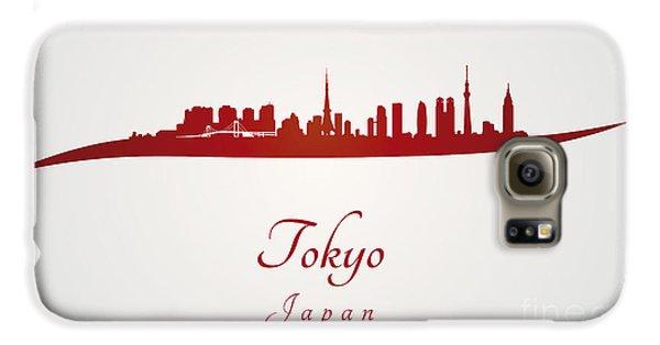 Tokyo Skyline In Red Galaxy S6 Case by Pablo Romero