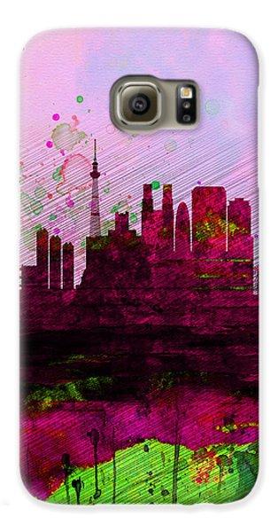 Tokyo Watercolor Skyline Galaxy S6 Case by Naxart Studio