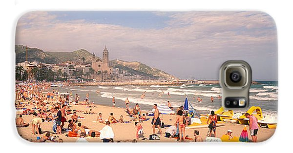 Tourists On The Beach, Sitges, Spain Galaxy S6 Case by Panoramic Images