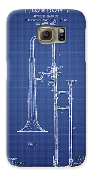 Trombone Patent From 1902 - Blueprint Galaxy S6 Case by Aged Pixel