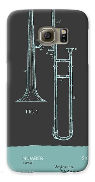 Trombone Patent From 1902 - Modern Gray Blue Galaxy S6 Case by Aged Pixel