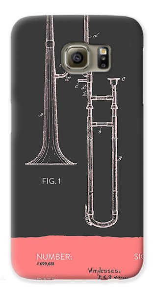 Trombone Patent From 1902 - Modern Gray Salmon Galaxy S6 Case by Aged Pixel