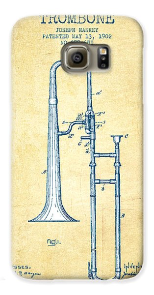 Trombone Patent From 1902 - Vintage Paper Galaxy S6 Case by Aged Pixel