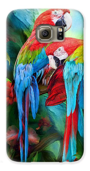 Tropic Spirits - Macaws Galaxy S6 Case by Carol Cavalaris