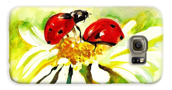 Two Ladybugs In Daisy After My Original Watercolor Galaxy S6 Case by Tiberiu Soos