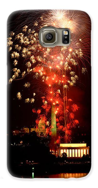 Usa, Washington Dc, Fireworks Galaxy S6 Case by Panoramic Images