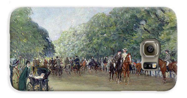 View Of Hyde Park With Figures On Rotten Row  Galaxy S6 Case by Albert Jnr Ludovici