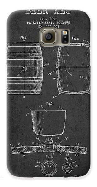 Vintage Beer Keg Patent Drawing From 1898 - Dark Galaxy S6 Case by Aged Pixel