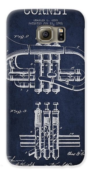 Cornet Patent Drawing From 1901 - Blue Galaxy S6 Case by Aged Pixel