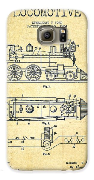 Vintage Locomotive Patent From 1904 - Vintage Galaxy S6 Case by Aged Pixel