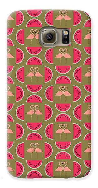 Watermelon Flamingo Print Galaxy S6 Case by Susan Claire