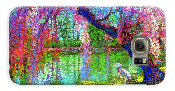 Weeping Beauty, Cherry Blossom Tree And Heron Galaxy S6 Case by Jane Small