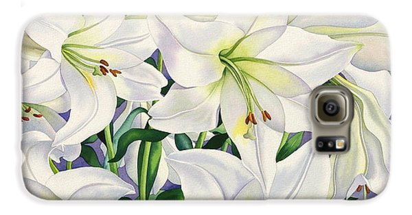 White Lilies Galaxy S6 Case by Christopher Ryland