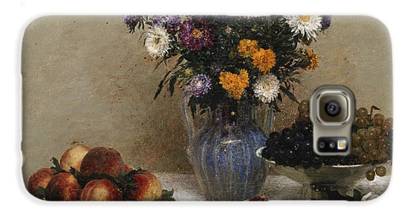 White Roses And Chrysanthemums Galaxy S6 Case by Ignace Henri Jean Fantin-Latour