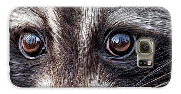 Wild Eyes - Raccoon Galaxy S6 Case by Carol Cavalaris