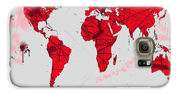 World Map Calligraphy Samsung Galaxy Case by Andre Pillay