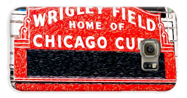Wrigley Field Chicago Cubs Sign Digital Painting Galaxy S6 Case by Paul Velgos