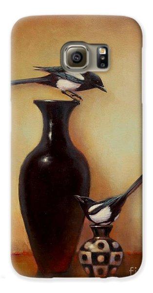 Yin Yang - Magpies  Galaxy S6 Case by Lori  McNee